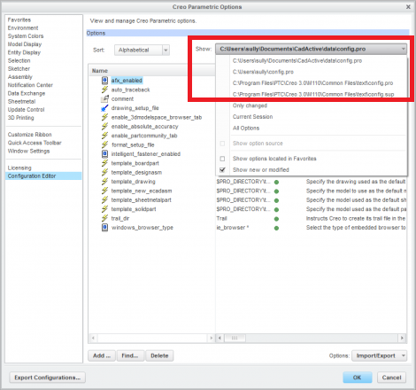Image showing the config.pro hierarchy in the Configuration Editor