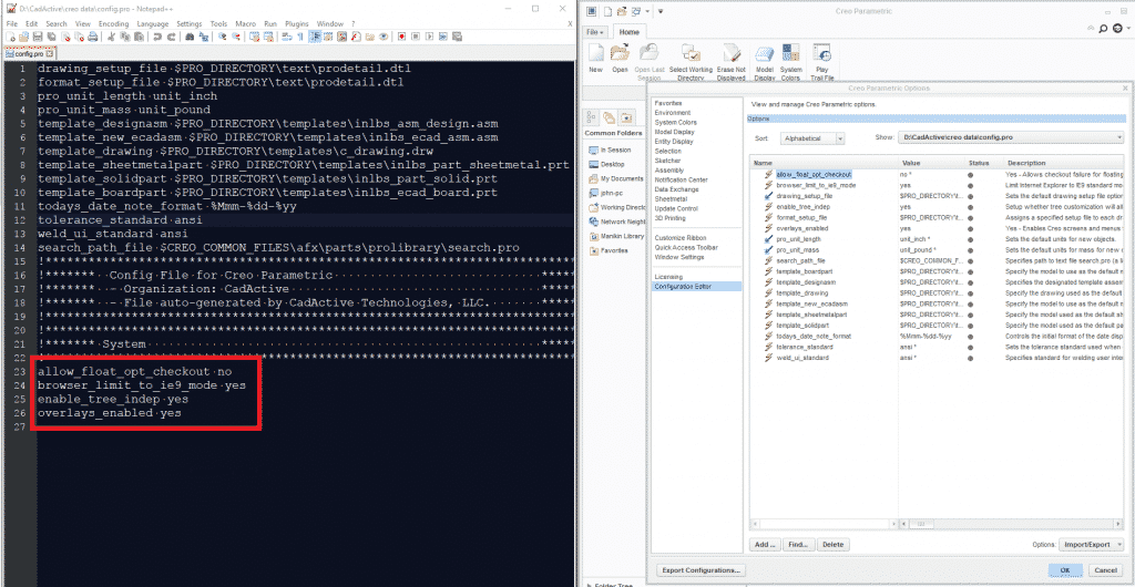 Comparison of config.pro and Configuration Editor after Export