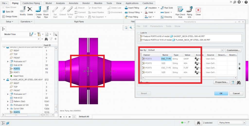 PIcture of Flange + Gasket combination in Creo with parameters
