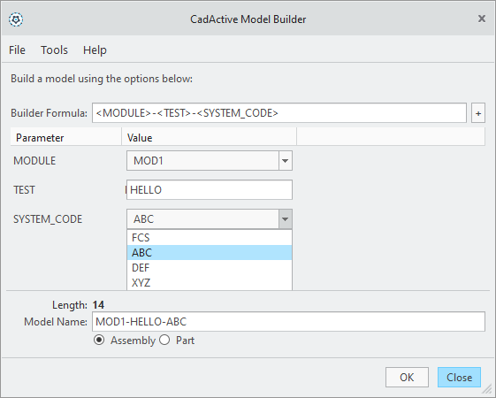 CadActive Model_Builder GUI